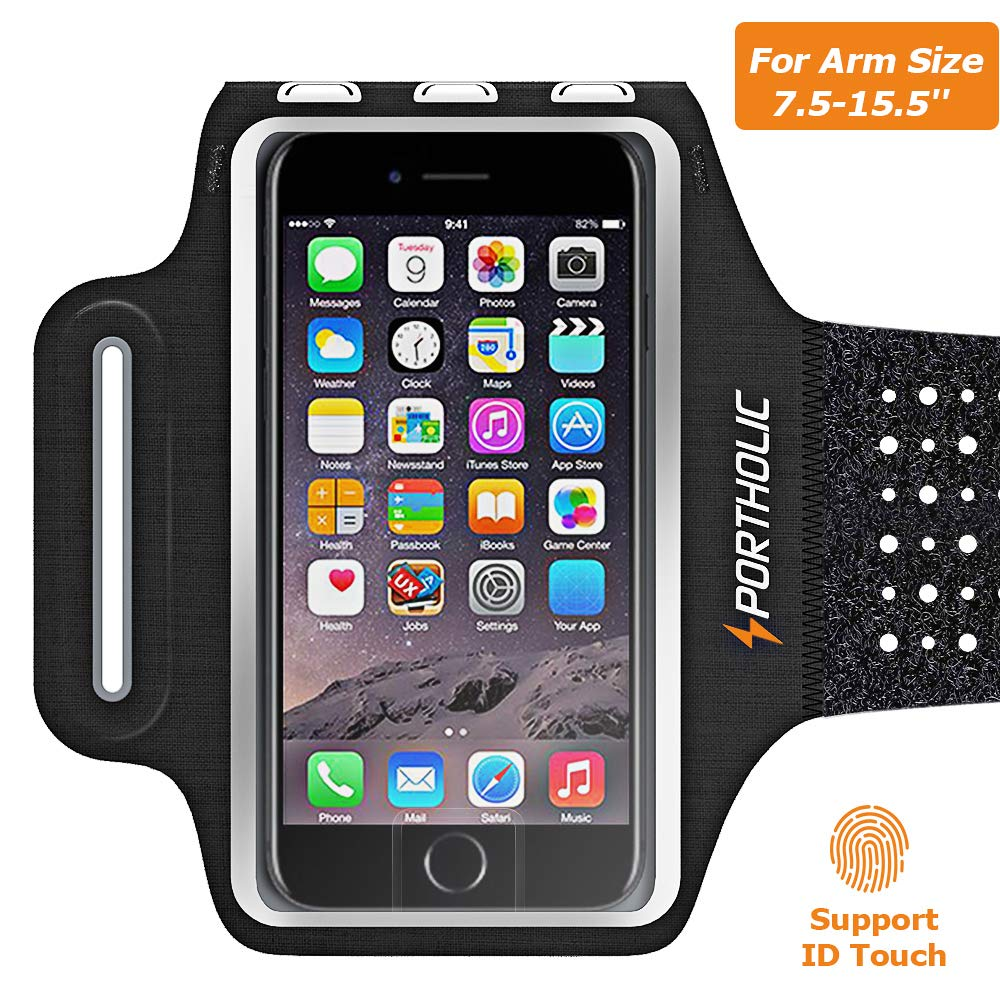 Sweat Resistant Armband Fits iPhone Xs Max XR X 8 7 6 6s Plus PORTHOLIC Phone Running Holder Sports Workout Case for Samsung GalaxyS10 S9+ S8 S7Edge Note 9 10 Huawei p20 LG [Stretchy] 7-18 Inch Arm