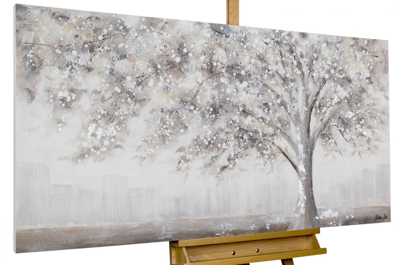 KunstLoft® Acryl-Gemälde Acryl-Gemälde Acryl-Gemälde 'Way back home' 140x70cm   original handgemalte Leinwand Bilder XXL   Abstrakt Baum Weiß   Wandbild Acrylbild moderne Kunst einteilig mit Rahmen 6484b3
