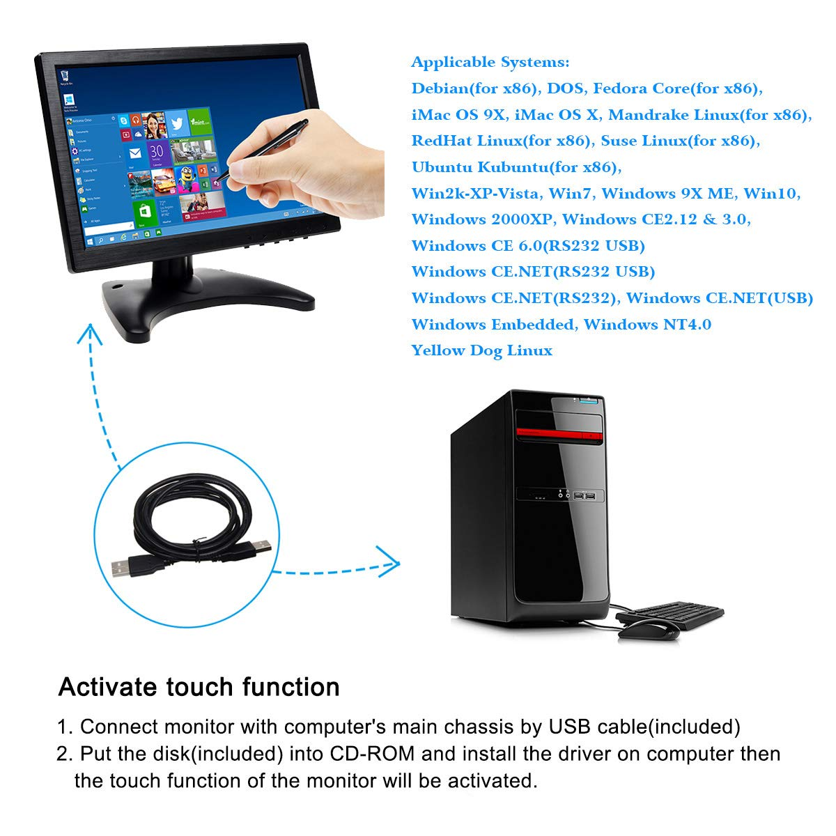 TOGUARD 12 Inch Monitor LCD IPS HD 1920 1080 Colour Digital Display Small Screen with Remote Control AV//HDMI//VGA//USB//Micro SD Card Video Input Touch Button Built-in Speaker