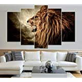 Amazon Price History for:IDECAL 5 Piece Roaring Lion Canvas Prints Wall Art Painting Pictures for Living Room Decor (NO Frame) (30x60cmx2p+30x75cmx2p+30x90cmx1p)