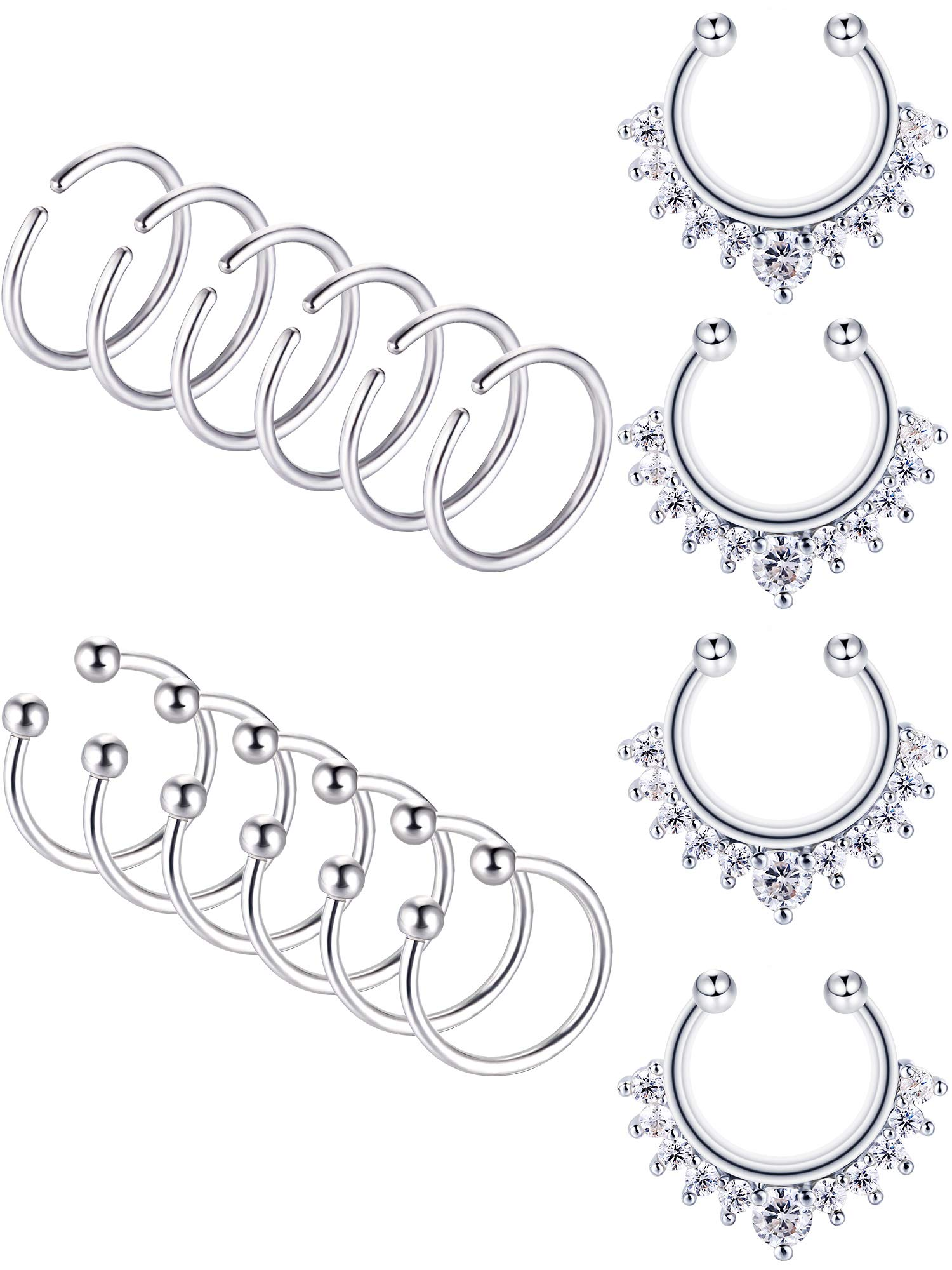 Blulu 16 Pieces 20 G Stainless Steel Nose Hoop Ring Non-piercing Nose Ring Lip Ring Ear Cuff Fake Septum Ring for Body Jewelry, 3 Styles (steel) by Blulu