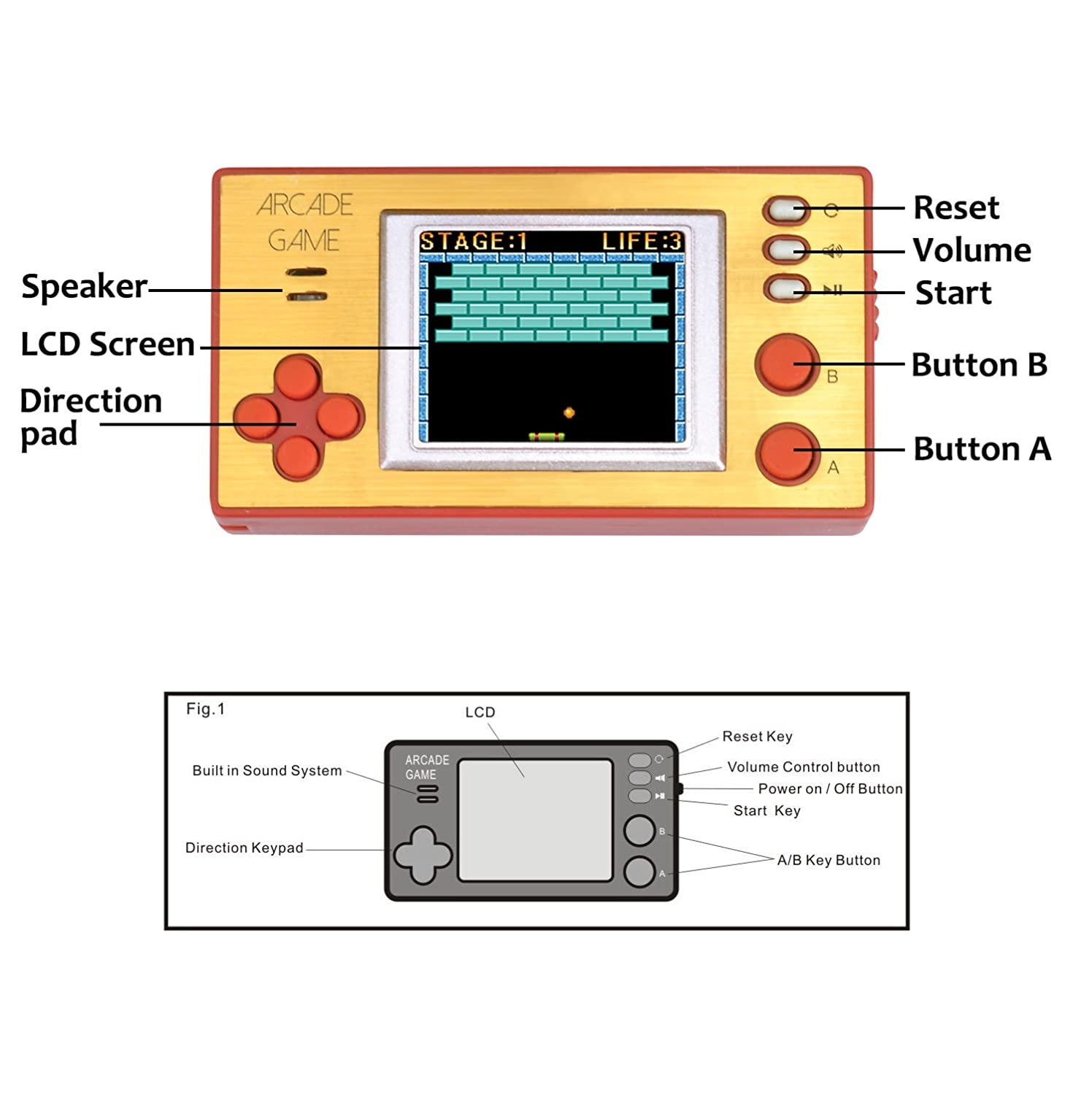 Handheld Portable Arcade Game Console Electronic Image 3