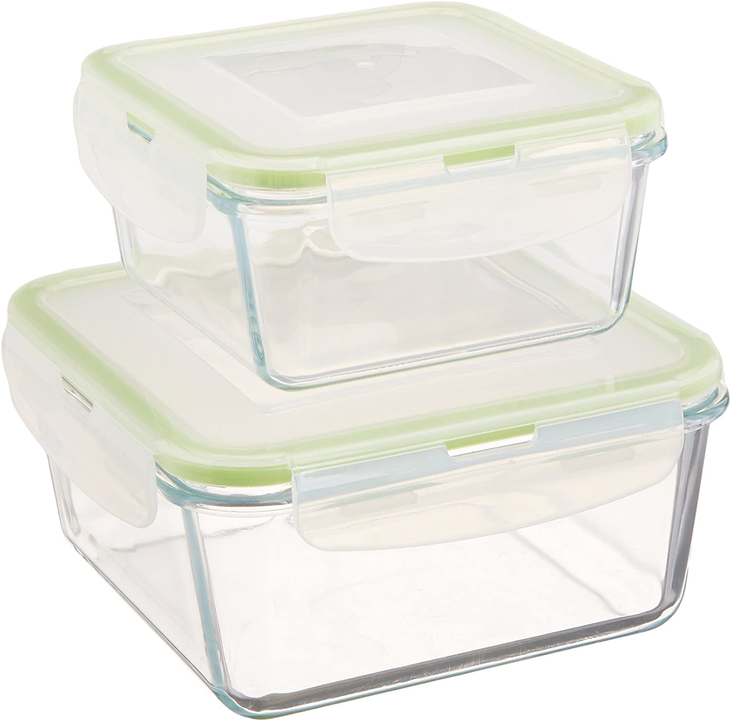 Uniware 2 Pc Square Microwave/oven Safe Air Tight Glass Food Storage 500ml and 1000ml [B4202-2]