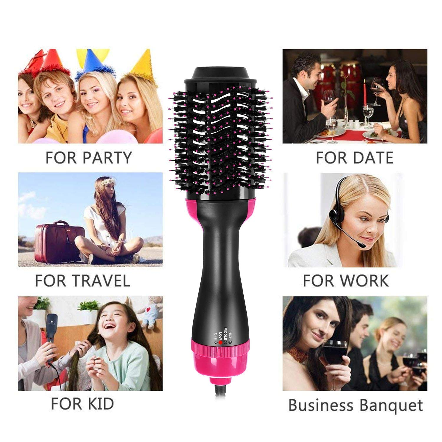 Hair Dryer Brush, ALWOA One Step Hair Dryer & Volumizer, 3-in-1 negative ion Straightening Brush Salon and Curly Hair Comb Reduce Frizz and Static