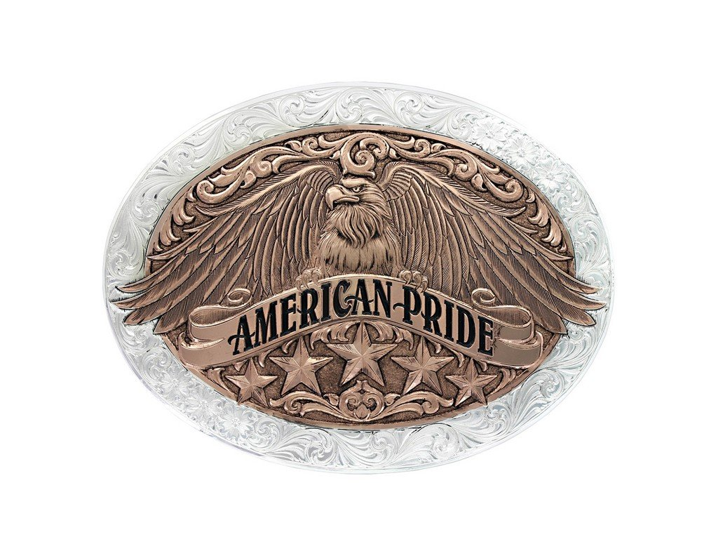 Montana Silversmiths Unisex Two Tone American Pride Buckle Silver One Size