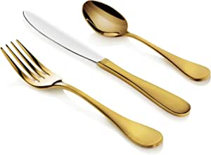 Artaste 56907 Rain 18 10 Stainless Steel Flatware 36 Piece Set Gold Finish Service For 12 Flatware Sets