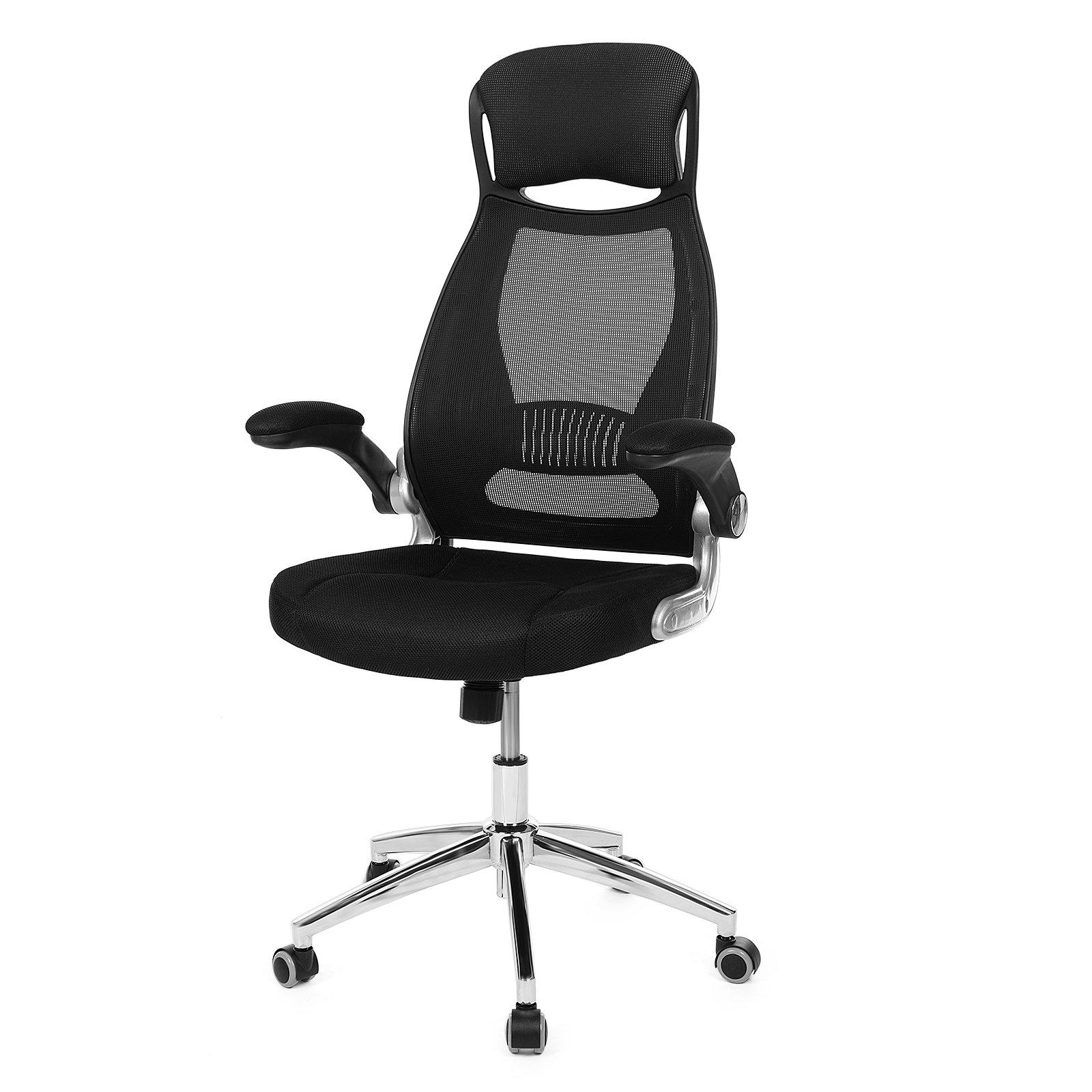 SONGMICS Mesh Ergonomic Office Chair with Contoured Backrest, Home Swivel High Back Computer Chair Flip up Armrests, Tilt Lock Function, Black UOBN86B