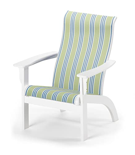 Telescope Casual Adirondack MGP Sling Chair, Textured Snow Finish with Limelite Stripe Sling Fabric