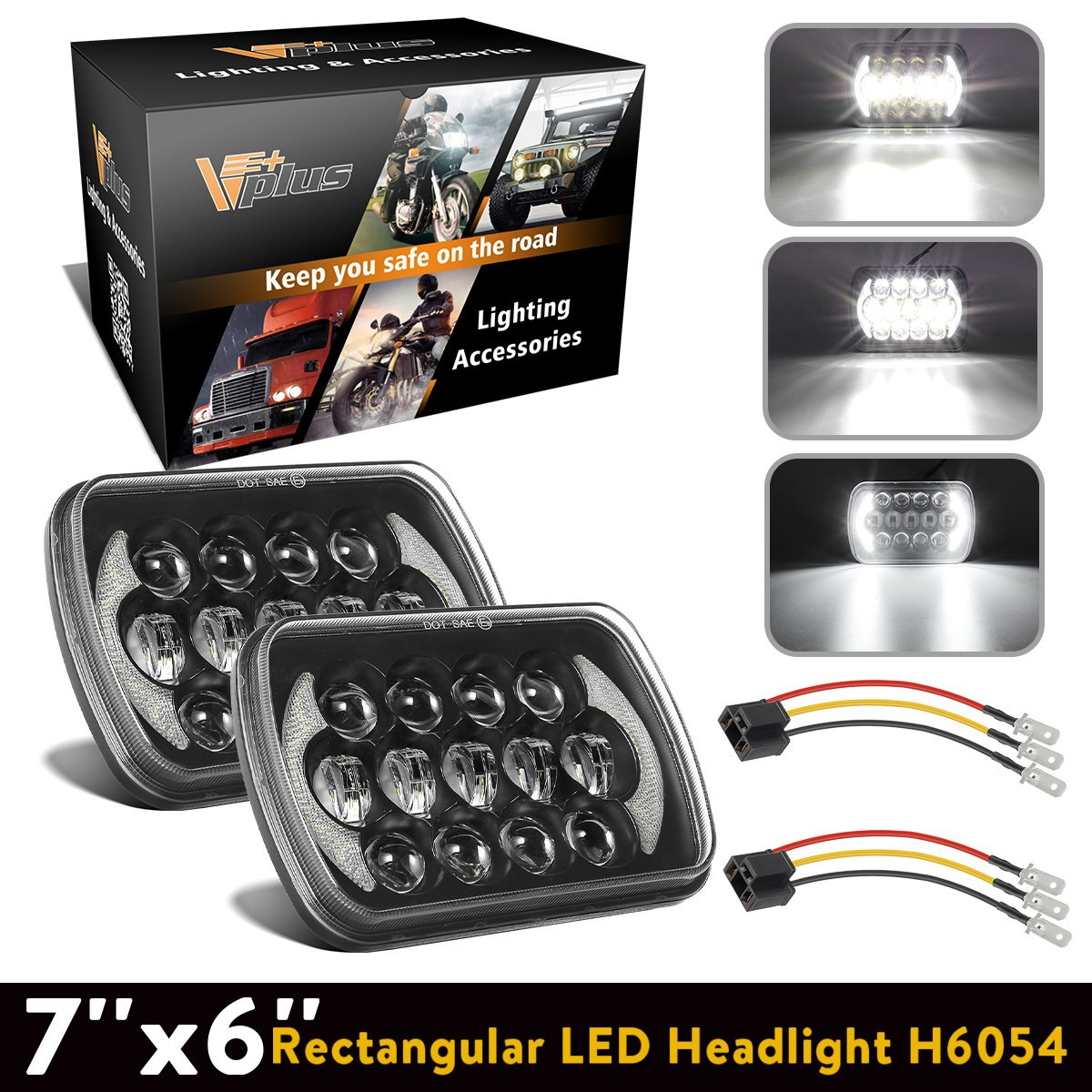 2Pcs 5x7 Led Headlights 7x6 Led Sealed Beam Headlights with Osram Chips Angel Eyes DRL High Low Beam C4 Corvette H6054 6054 Led Headlight for Jeep Wrangler YJ Cherokee XJ H5054 H6054LL 6052 6053