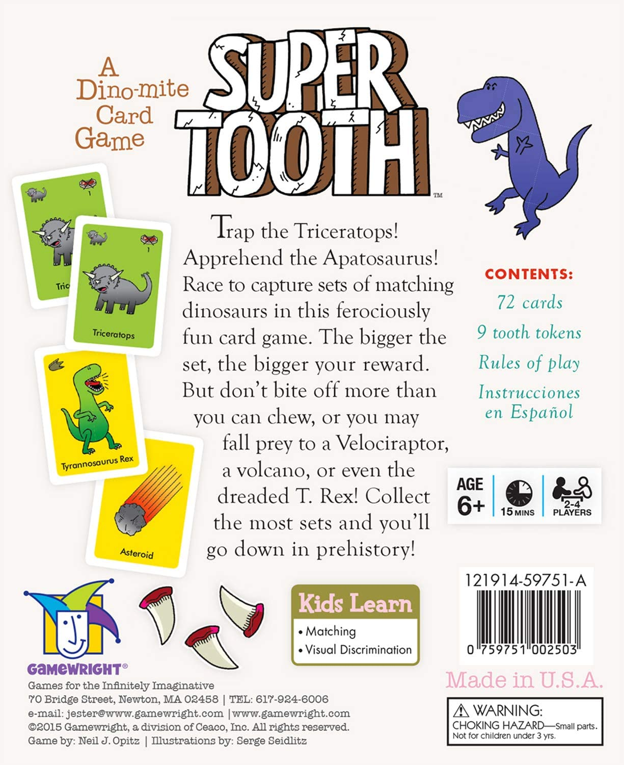 Super Tooth A Dino mite Card Game Card Game Ceaco 250