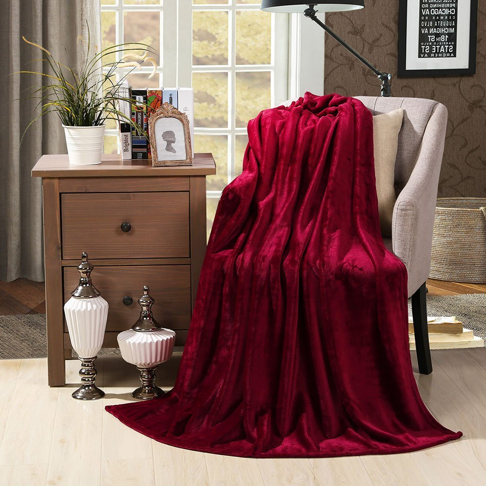 "HYSEAS Velvet Plush Throw, Home Fleece Throw Blanket, 50"" x 60"", Ruby"