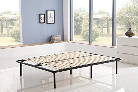 KOSMI - Base de cama con tablillas 140x190 cm en patas para cama doble, 7 pies, 40 listones de madera contrachapada, somier para ensamblar