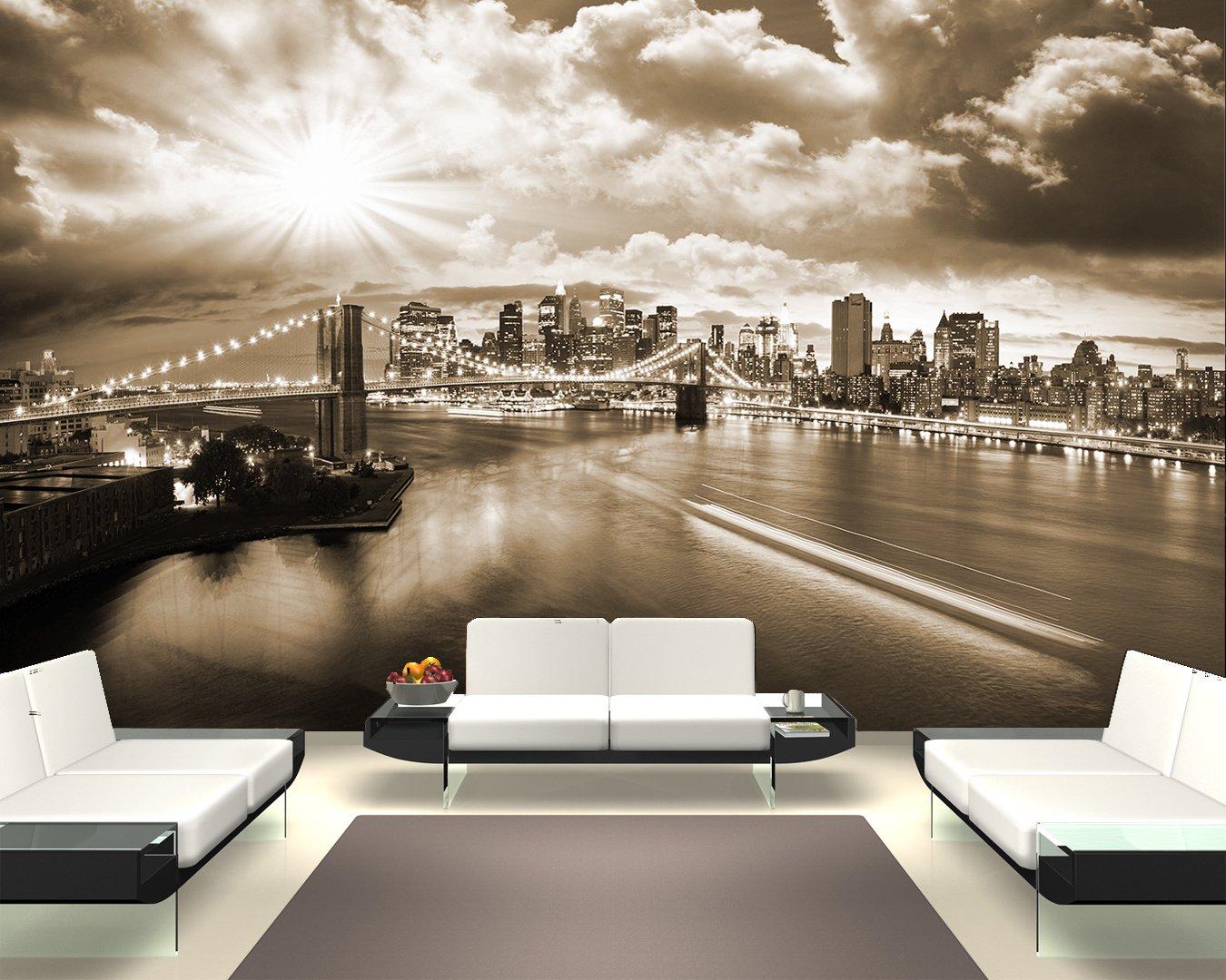 Selbstklebende Fototapete - New York - schwarz schwarz schwarz Weiss - 230x150 cm - Wandtapete – Poster – Dekoration – Wandbild – Wandposter - Bild – Wandbilder - Wanddeko 4b9ffe