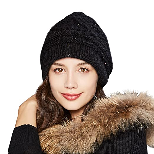 Kenmont Womens Alpaca Wool Cable Knitted Hat Slouch Beanie Winter Hats With  Short Brim (Black 3567e11ecb3