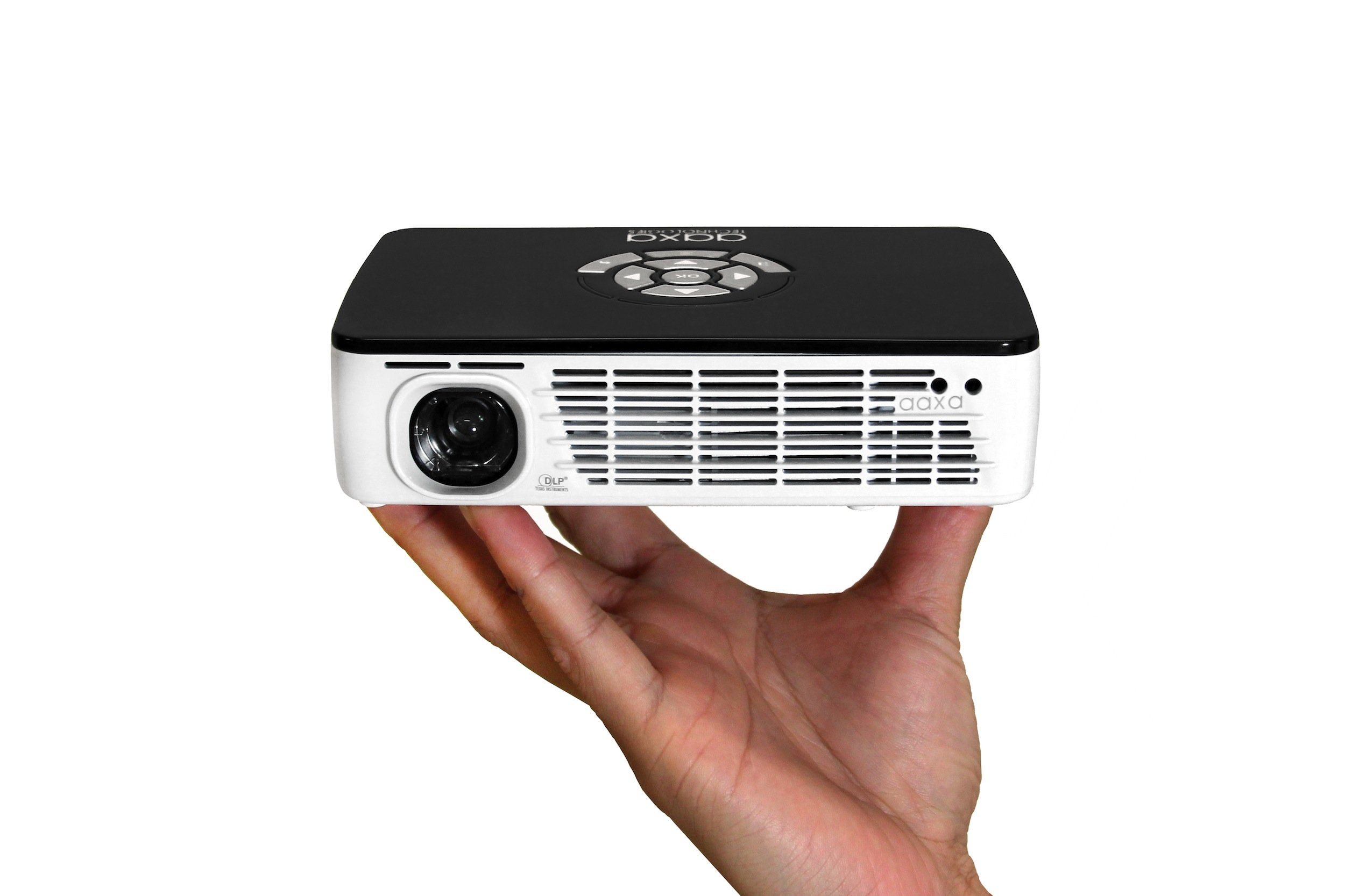 AAXA P300 Pico/Micro LED Projector with 60 Minute Battery Life, WXGA 1280x800 Resolution, 400 Lumens, HDMI, Mini-VGA, 20,000 Hour LED Life, Media Player by AAXA Technologies