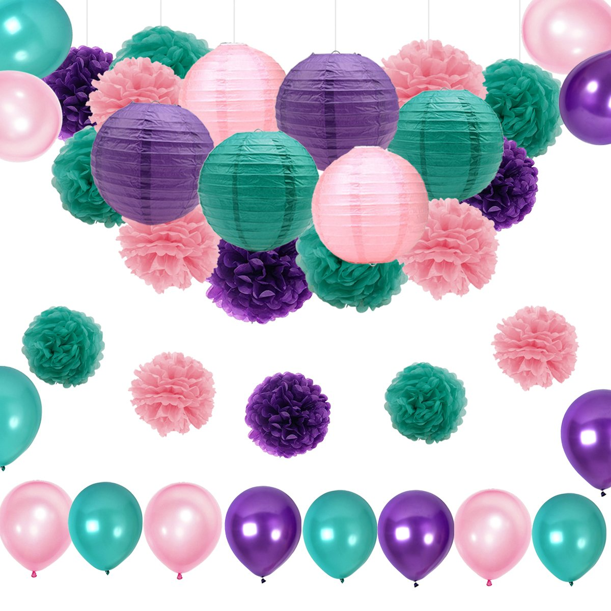 CutePet Mermaid Birthday Party Supplies/Under the Sea Party 36pcs Teal Pink Purple Paper Pom Pom Paper Lanterns Balloons for Birthday Decor Baby Shower Decorations Frozen Birthday Day Party Supplies