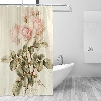 Bath Shower Curtain 60x72 InchVintage Shabby Chic Pink Rose FloralMildew Proof Polyester