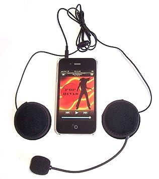 KOKKIA H10Mic_black (Cable NEGRO) Auriculares + micrófono estéreo deportivos/para casco de moto