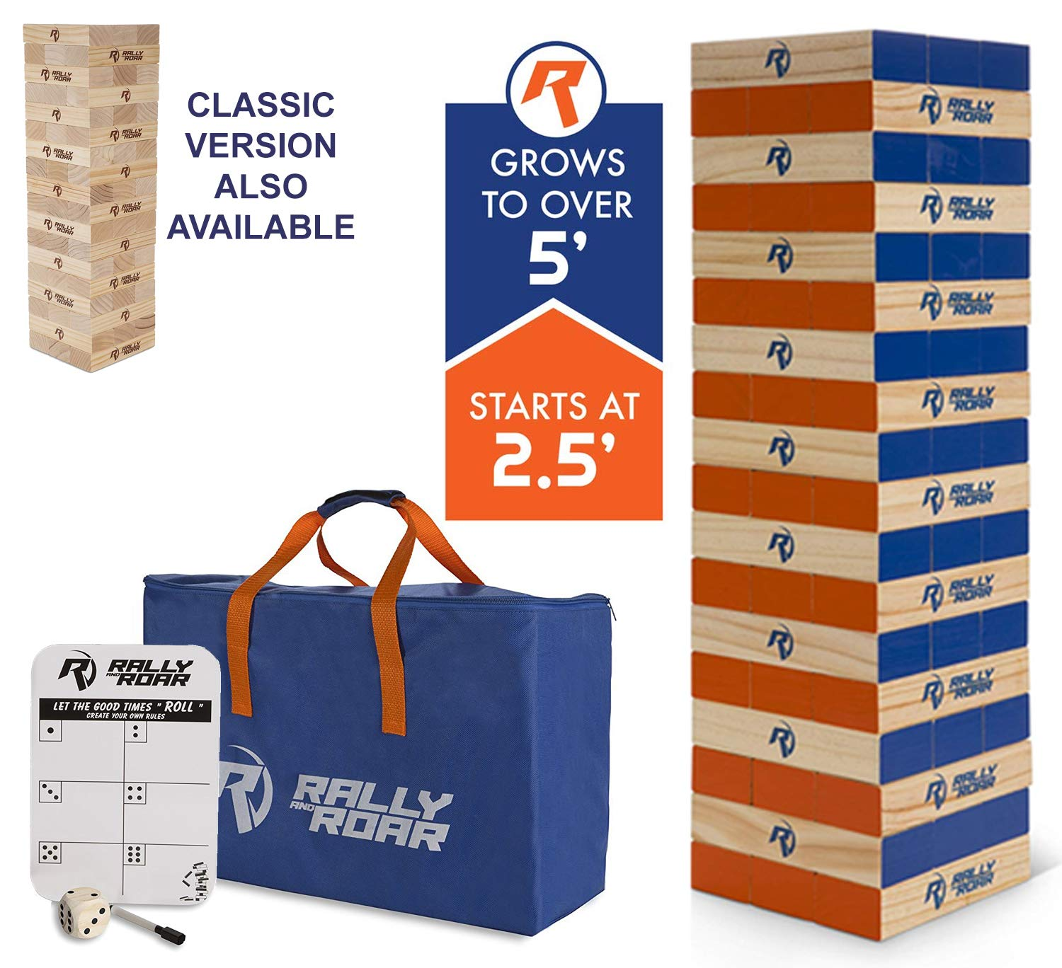 Rally and Roar Toppling Tower - Giant Tumbling Timbers Game - 2.5 feet Tall (Build to Over 5 feet) Premium Wood Version - For Adults, Family - Stacking Blocks Set w/Canvas Bag