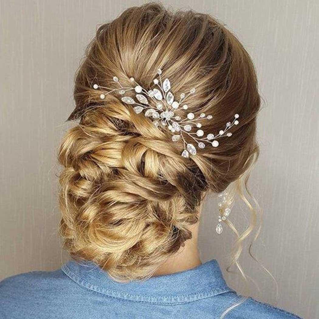 Accessoire de cheveux en cristaux Simsly pour mariée et demoiselle d'honneur - Argenté - FS-28