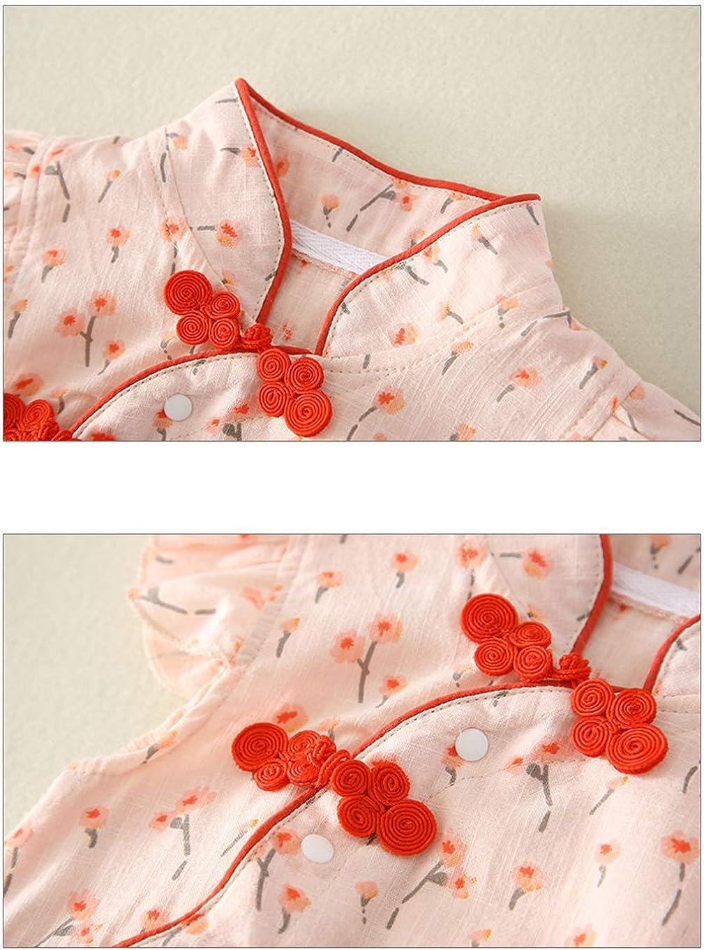 Newborn Girls Toddler Pajamas Cheongsam Baby Vest Print Short-Sleeve Outfits Summer