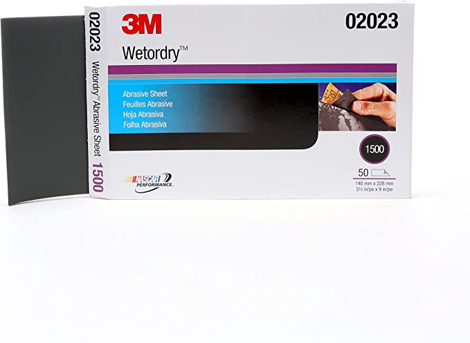 5 1//2 x 9 inch 50 sheets 3M 02044 Wetordry Sheet 2000 grit
