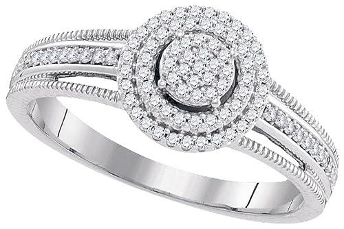 a7eb83c5e6106 10kt White Gold Womens Diamond Concentric Cluster Bridal Wedding ...