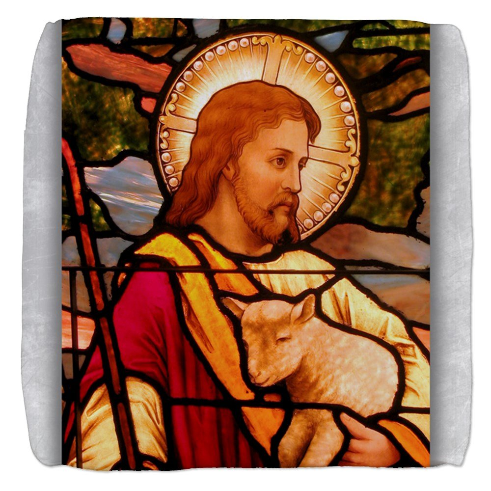 18 Inch 6-Sided Cube Ottoman Jesus Christ Lamb Stained Glass by Royal Lion
