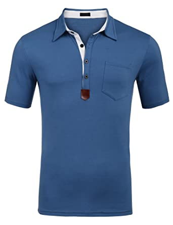 b28fc4bcd8a SIMBAMA Mens Short Sleeves Slim Fit Style Stripe 3-Button Polo Shirt  Contrast Color Top. Roll over image to zoom in
