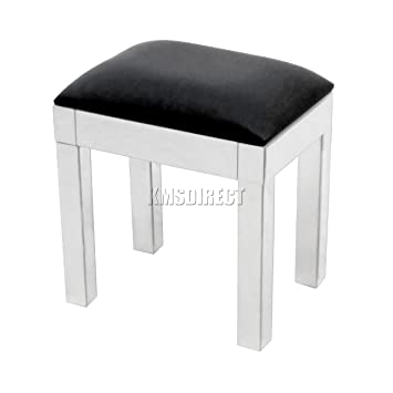 Amazing Westwood Mirrored Furniture Glass Stool With Black Faux Leather For Dressing Table Bedroom Ms01 Silver Evergreenethics Interior Chair Design Evergreenethicsorg