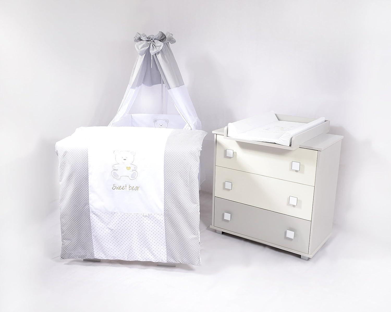 Sparset Babyzimmer mit Babybett , Wickelkommode und vollem Ausstattung Sweet Bear (H165)