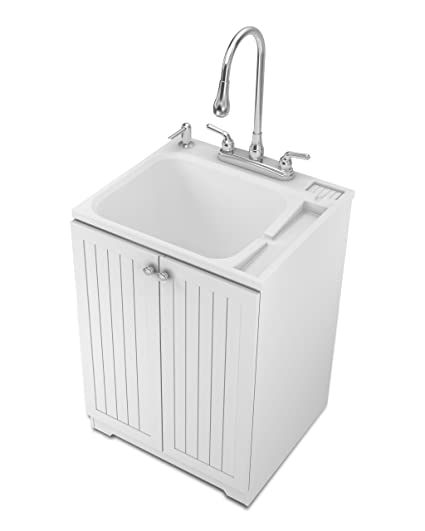 Masco Bath 104080 All In One ABS Utility Sink With Cottage Cabinet Kit,