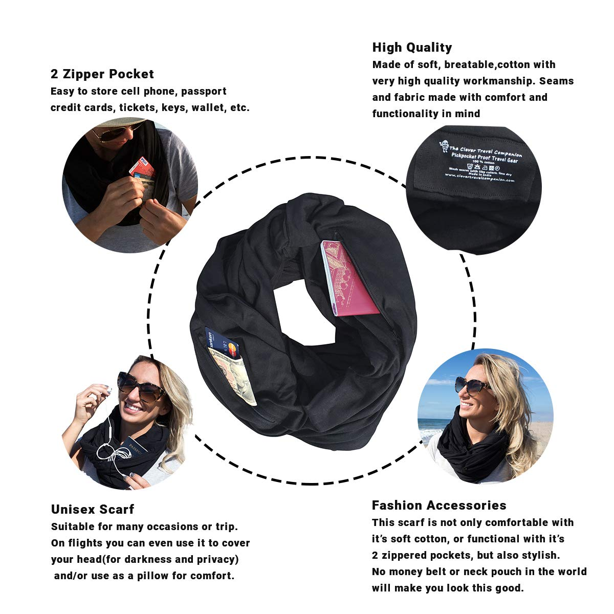 00-01S030S Clever Travel Companion Travel Scarf with 2 Hidden Zipper Pockets 100/% Pickpocket Proof Holiday Tour Black