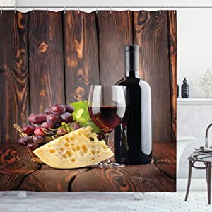 Ambesonne Wine Shower Curtain, Red Wine Cabernet Bottle and Glass Cheese and Grapes on Wood Planks Print, Cloth Fabric Bathroom Decor Set with Hooks, 70