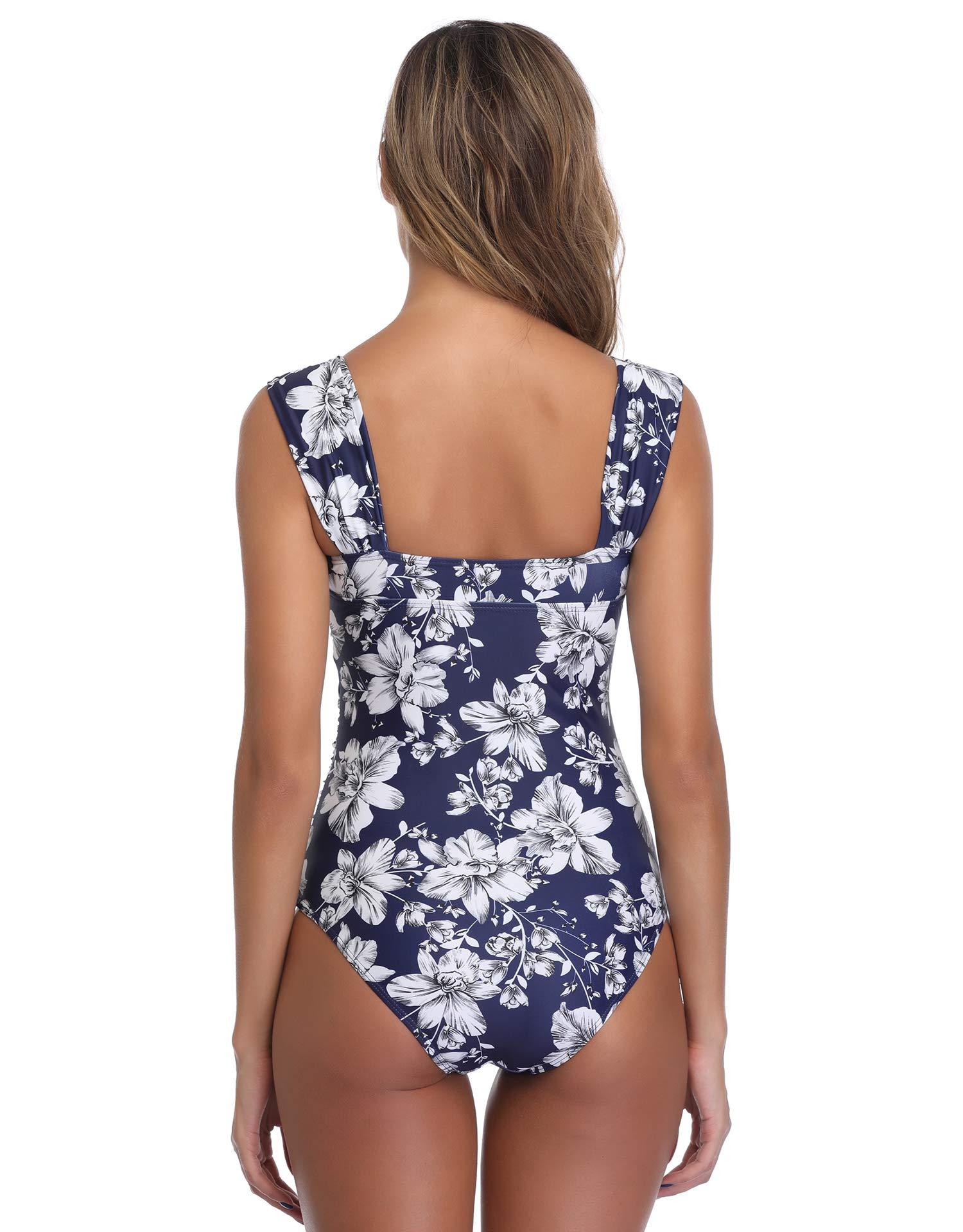 MarinaVida Women One Piece Tummy Control Swimsuit Vintage Push Up Bathing Suit