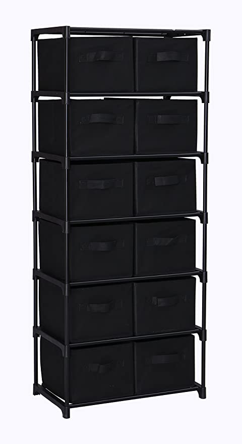 Homebi 12 Drawers Storage Shelf Chest Unit Storage Cabinet Closet Organizer  Rack With 6 Durable Metal