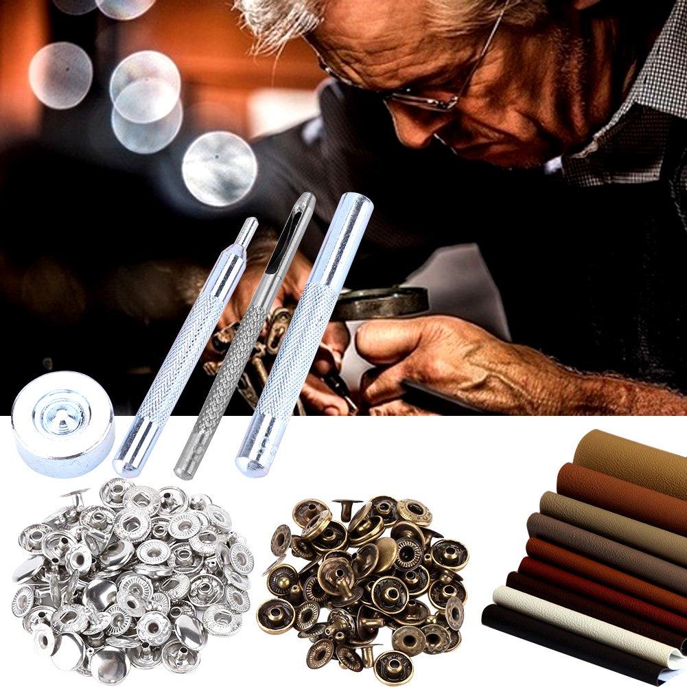 10pcs Bronze; 10pcs Silver; 10pcs Black 30pcs 10mm metallo Popper Snap Bottoni a Pressione Bottoni a Pressione con 4pcs Strumenti di impostazione per borse in tessuto artigianale in pelle