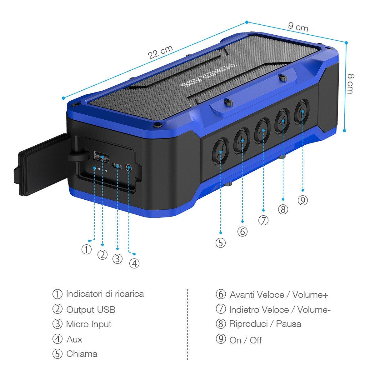 POWERADD Altoparlante Bluetooth Wireless Speaker Portatile con Alte Prestazioni Sonore con Audio HD 36W, Casse Portatile IPX7 a Prova di Urti e Polvere, Aux-in, Perfetto per Utilizzo All\'aperto - BLU