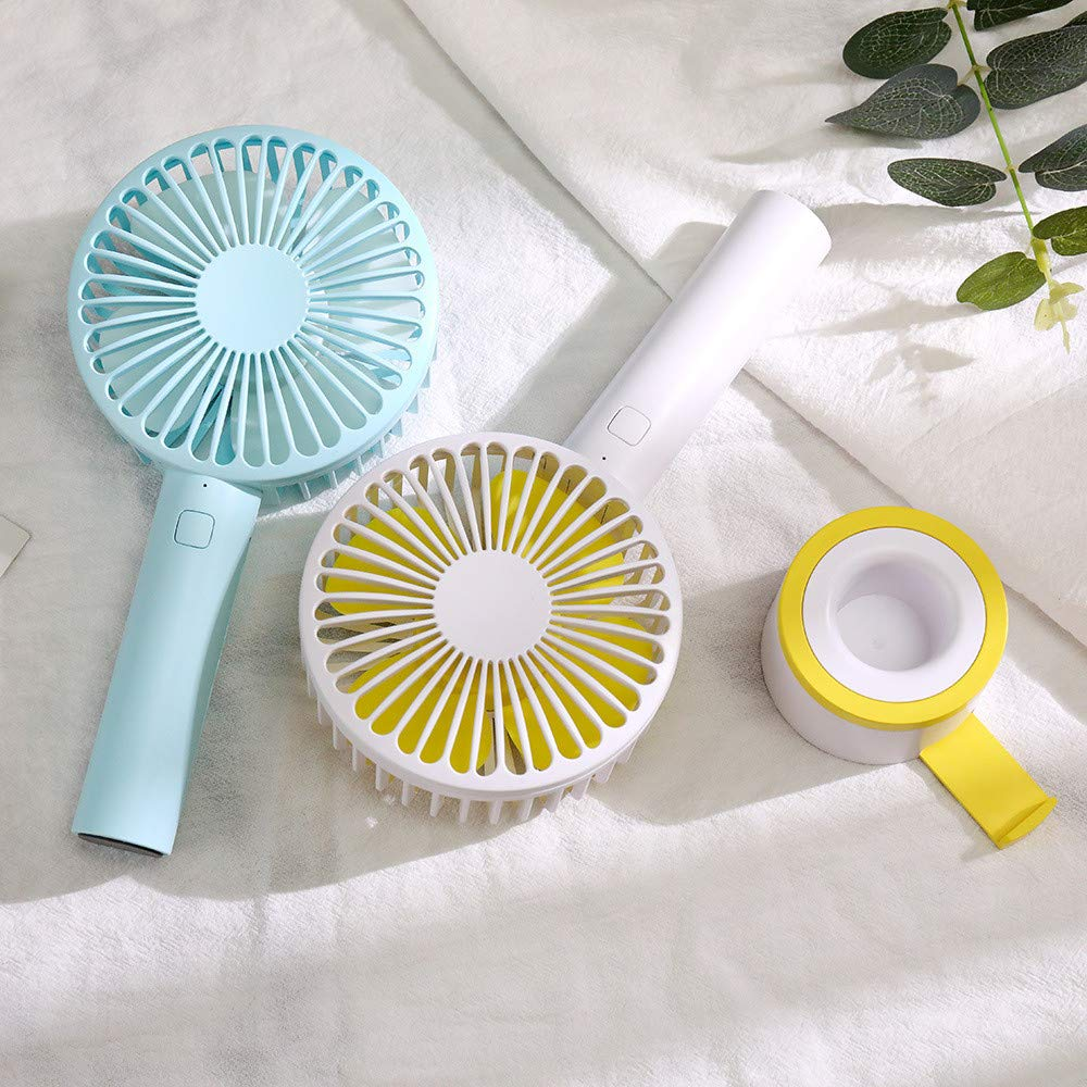 Mini Handhold Fan for Women,Best Summer Gift Portable Air Cooling Removable base USB Fan with Phone Holder Fans for Desk Home Speed Adjustable Cute Fan for Travelers and Office Workers(WA-Blue) by MIYA LTD (Image #7)