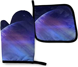 Secrets of The Galaxy Oven Mitts and Pot Holders Cooking Gloves Disposable Food Safe Kitchen Safe Non-Slip Mats Potholders Heat Resistance Set Funny