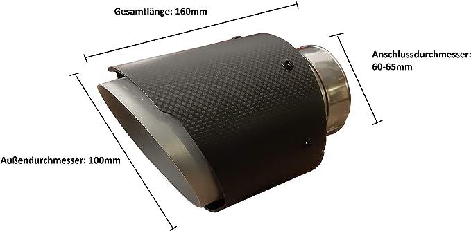 CARTUNER Duplex Carbon Auspuffblenden Endrohre Auspuff 100mm Anschlu/ß 50mm Exclusiv