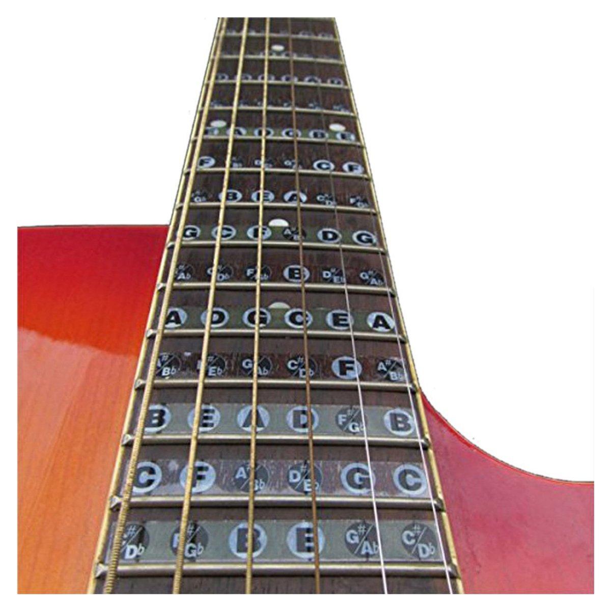 Cikuso Adhesivos de Nota de Diapason de Guitarra Pegatina del Mapa de trastes de Diapason para Practica de Aprendiz Principiante Adecuado 6 Cuerdas Guitarra ...