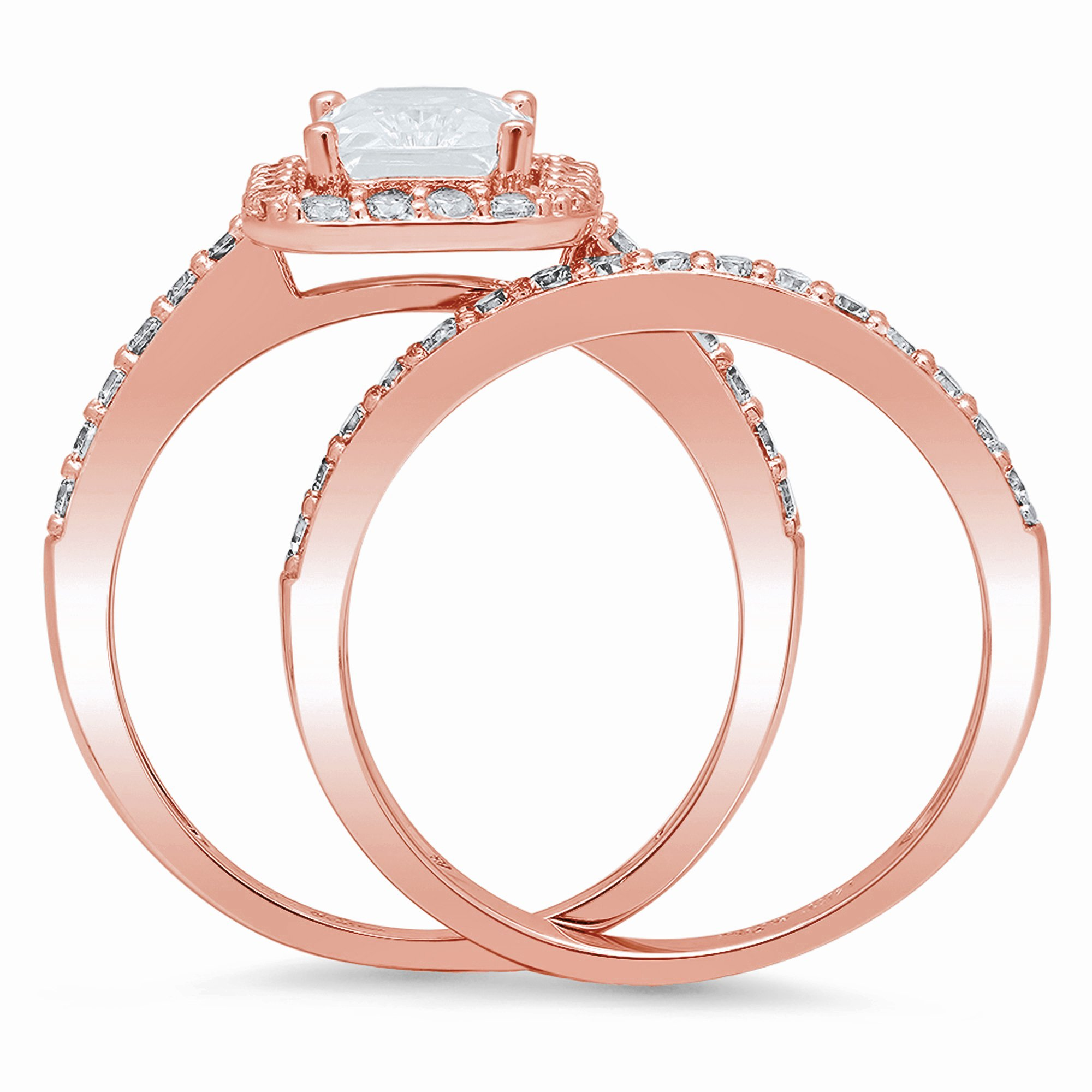 14k Solid Rose Gold 2ct Emerald Brilliant Cut Solitaire Pave Halo Bridal Anniversary Engagement Wedding Promise Ring Band Set for Women, 8 by Clara Pucci (Image #2)
