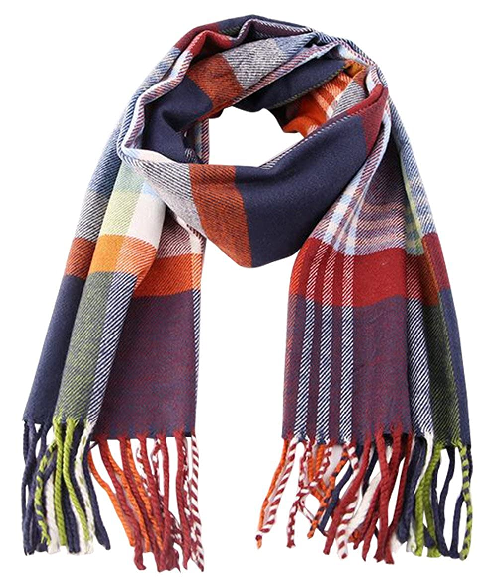 Kids Cashmere-like Scarves Soft Classic Warm Fashion Plaid Scarf for Boys Girls