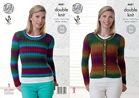King Cole Ladies Double Knitting Pattern Womens Easy Knit Ribbed