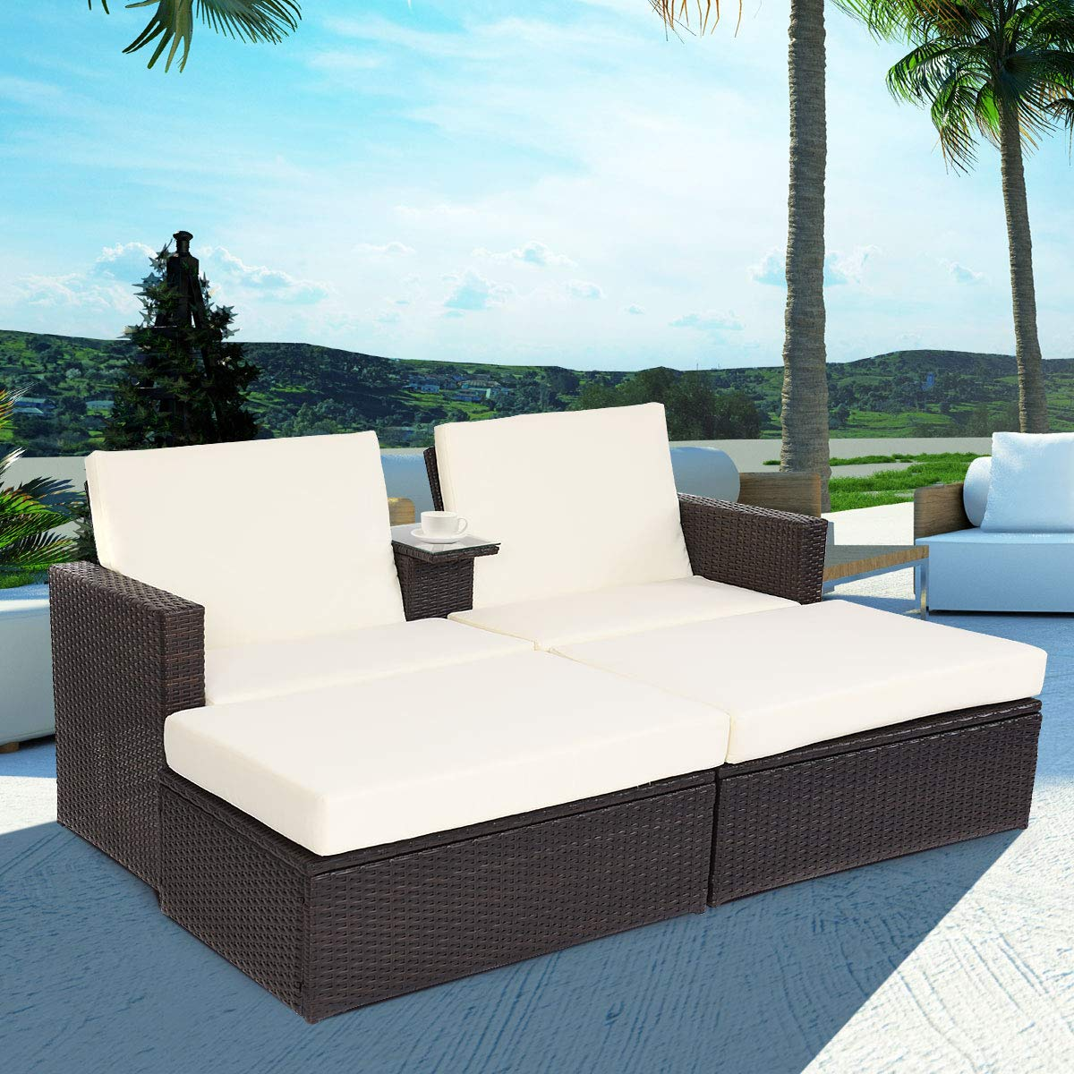 Tangkula 3 Pcs Wicker Chaise Lounge Outdoor Pool Adjustable Lounge Chair Set with Table and Cushions (Brown)