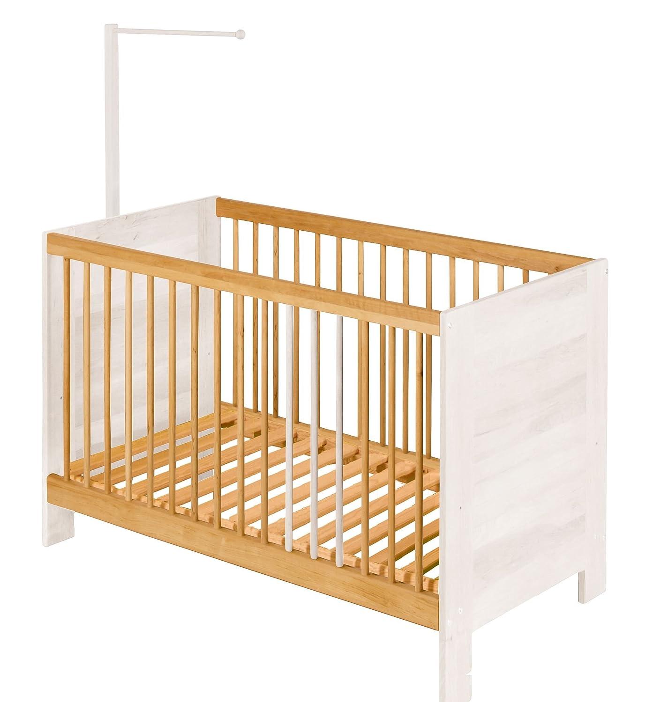 BioKinder Set Niklas Beistellbett Kinderbett Babybett mit Aufhängung aus Massivholz 60x120 cm Erle und weiß lasiert