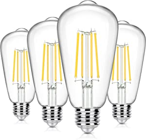 4-Pack Vintage 8W LED Edison Bulbs, 100W Equivalent, E26 Base ST64 LED Filament Light Bulbs Warm White 4000K High Brightness 1400Lumens, Antique Style Clear Glass for Home Bedroom Office, Non-Dimmable