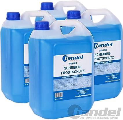 Pack de 4 botellas de 5 litros de protección anticongelante para las lunas, para el invierno, uso hasta a -20º: Amazon.es: Coche y moto