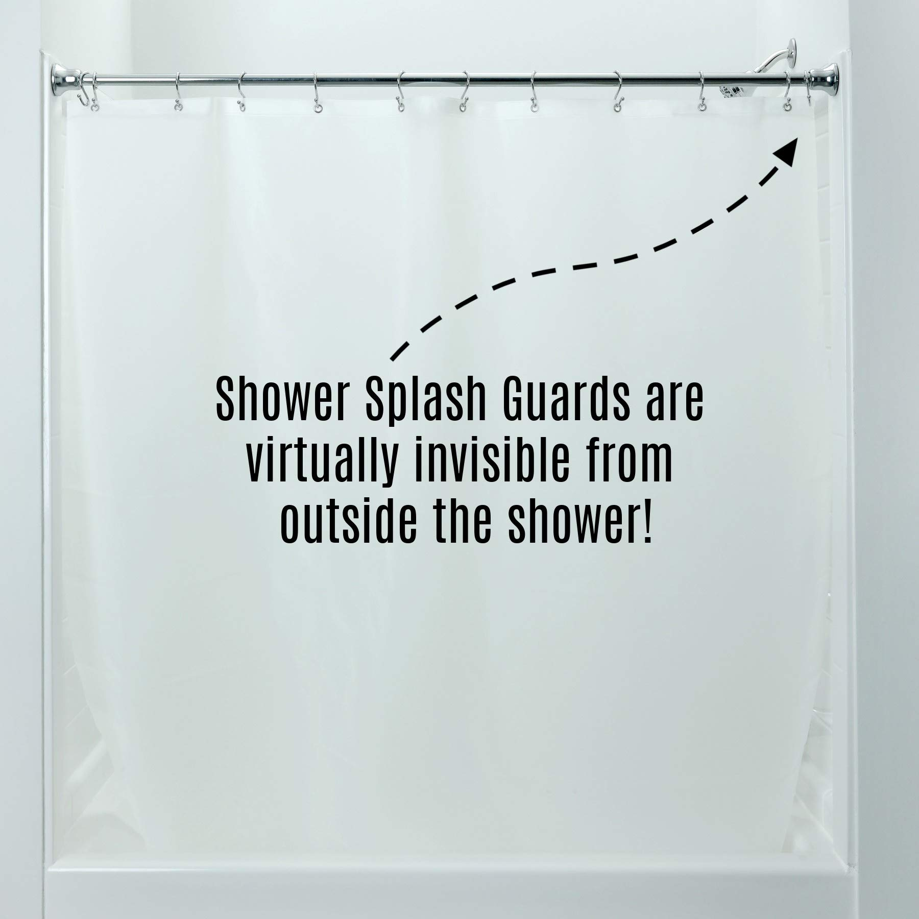 Shower Liner Splash Guards 2 Per Pack in Clear by SlipX Solutions